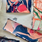 marbled paper using nail polish for a different color pattern