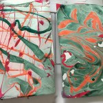 marbled paper from nail polish for tropical patterns