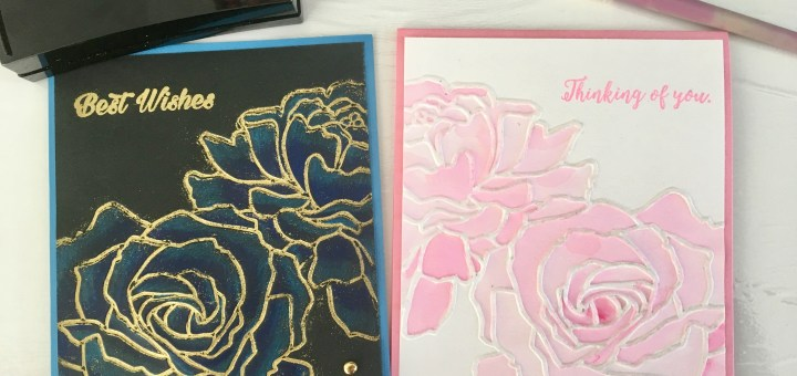 two cards using one embossingTwo cards using one rose embossing folder but different techniques