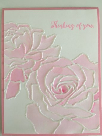Manhattan Flower Rose Thinking of You card embossing folder pink watercolors