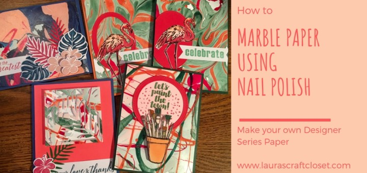 marbled paper using nail polish to create a stack of cards