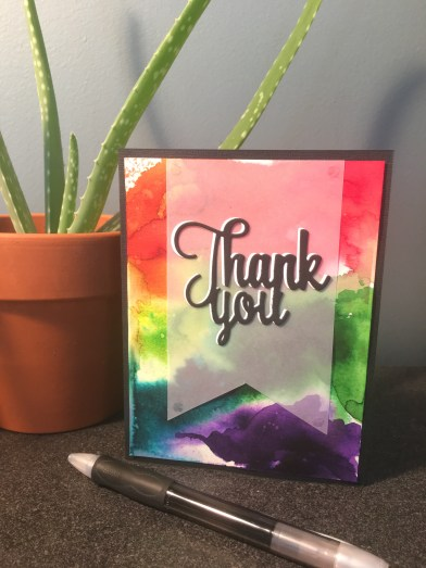 rainbow thank you card made using watercolor powders