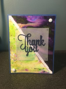 thank you card made using watercolor powders