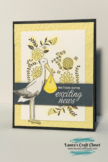 Stork precious delivery announcement yellow card