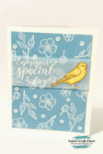 White embossing technique with bird ballad card