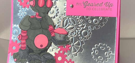 Pink robot birthday card