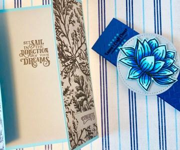 Blue Lily Gatefold Card open