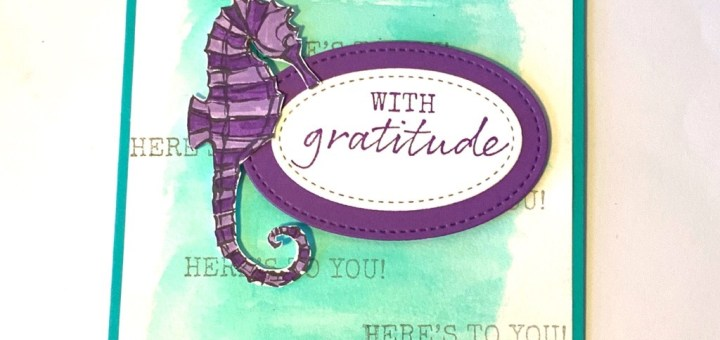 Seahorse watercolor card featuring seaside notions stamp set