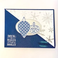 Deck The Halls Diagonal Fold Holiday Card