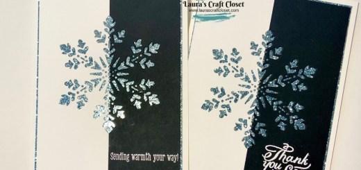 Black white glitter snowflake card with snowflake wishes diecut