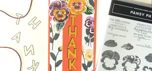 Slimline pansy thanks card instagram with stampin up pansy patch stamps and playful alphabets dies
