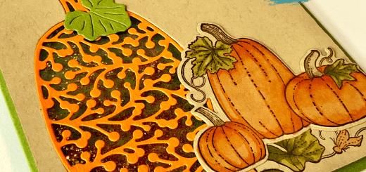 Pretty pumpkin shaker card closeup thankful for you glitter