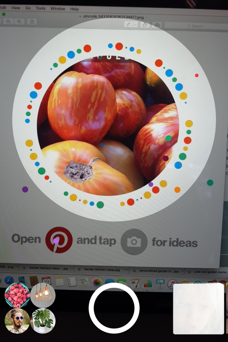 Pinterest Pincodes: scanning a Pincode with the Pinterest camera.