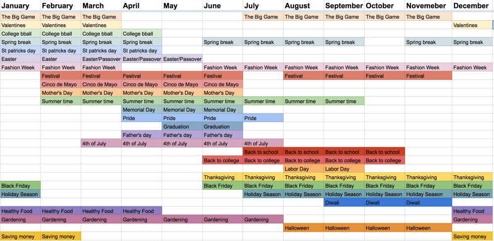 Editorial calendar screenshot