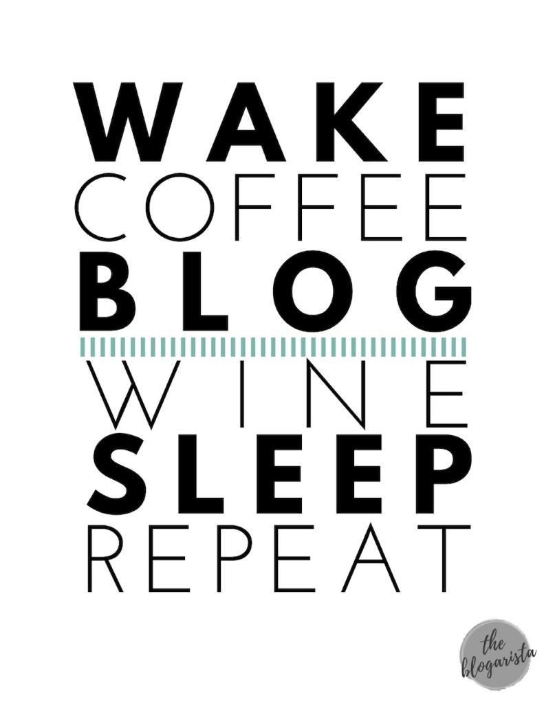 text: wake coffee blog wine sleep repeat