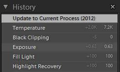 Reverting back to the old process version using History