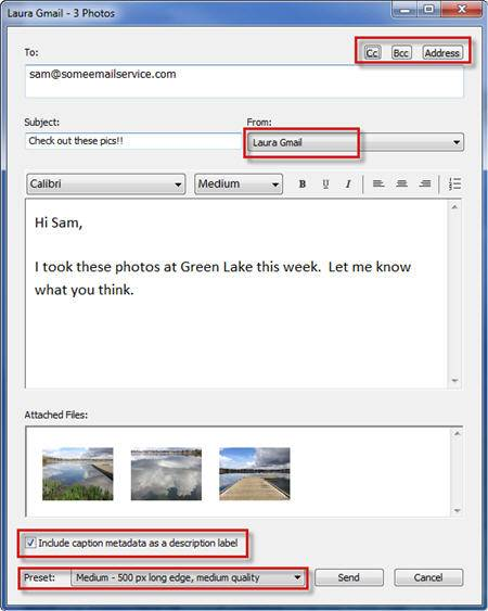 Lightroom 4 web mail email dialog