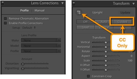 Lens Corrections features reorganized into Lens Corrections and Transform panels