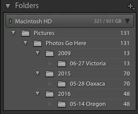 Lightroom Folders Panel with Folder Hierarchy Revealed