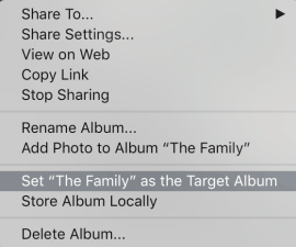 Lightroom CC: Set Album as Target