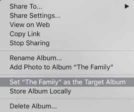 Lightroom CC: Set Album as Target
