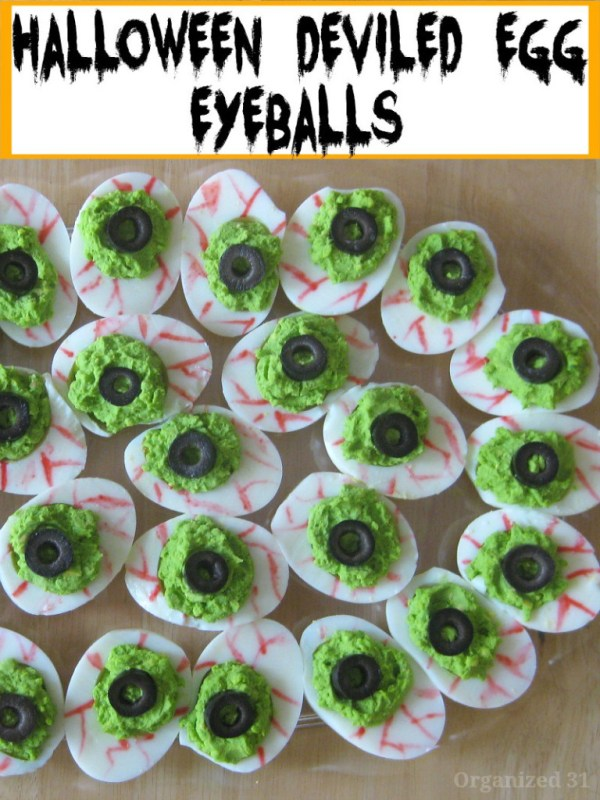 Deviled Egg Eyeballs 21 Halloween Party Treats www.lauraslittlehousetips.com