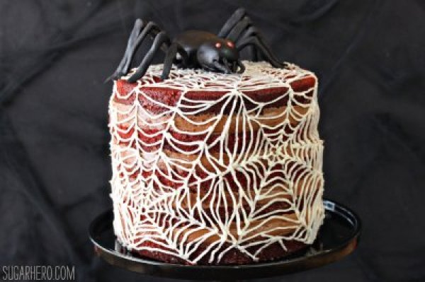 Spiderweb Naked Red Velvet Cake 21 Halloween Party Treats www.lauraslittlehousetips.com