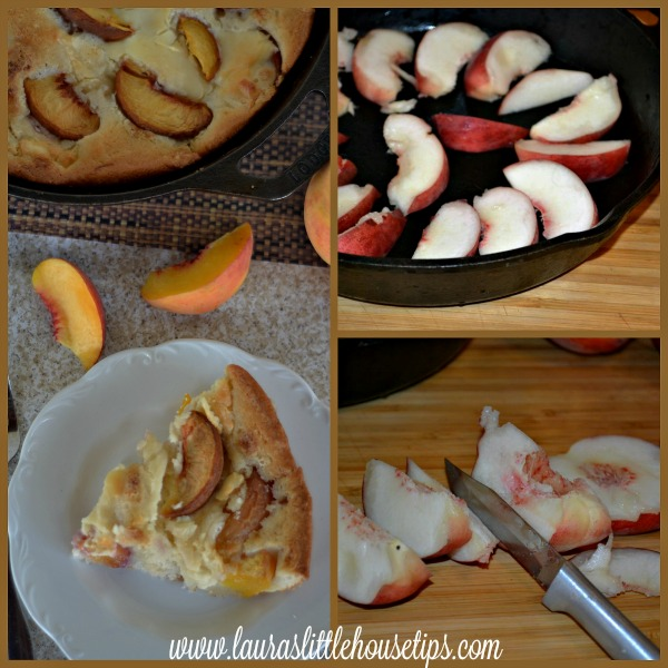 Iron Skillet Peaches & Cream Cobbler http://www.lauraslittlehousetips.com