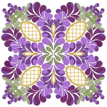 Purple Feathers No. 4 (artistic) kaleidoscope machine embroidery