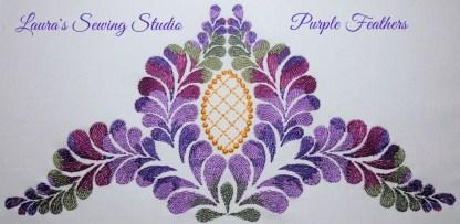 Purple Feathers No. 2 - kaleidoscope machine embroidery