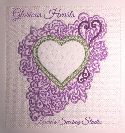 Glorious Hearts in Pink & Green (Extra Large Image)