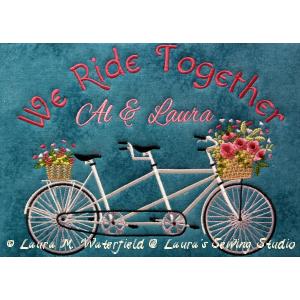 Bicycle, Tandem, Bike,Tandem Bike, machine embroidery, machine embroidery bike, machine embroidery tandem bike, 6x10, 8x11.