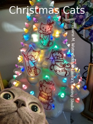Christmas Cats Lace Ornaments