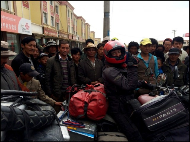 Being mobbed by highland Tibetans was a daily occurrence. We soon learnt to eat very fast.