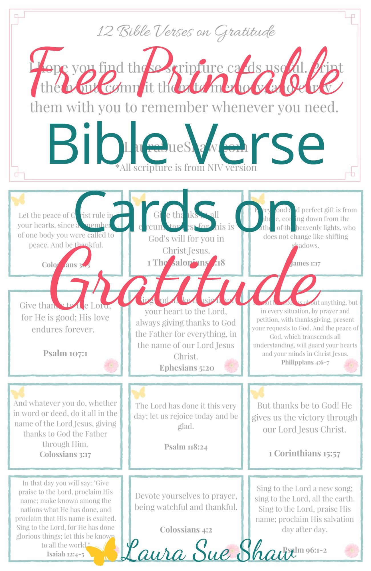 Free Printable Bible Verse Cards On Gratitude