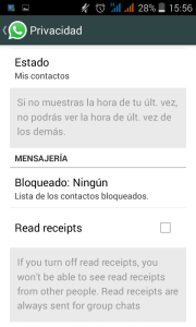 Desactivar el doble check azul de Whatsapp