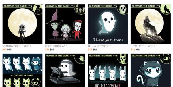 teeturtle camisetas que brillan en la oscuridad