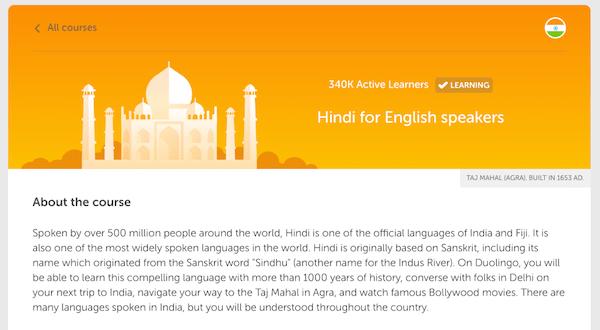 aprender hindi online curso duolingo