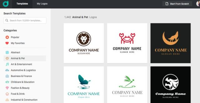 designevo catálogo plantillas logotipos