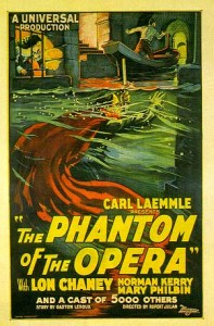 1925 movie poster showing the phantom lurking beneath the water in the catacombs of the Opera House