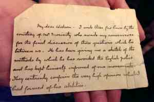Conan Doyle replicated Holmes' note to Watson, just before his death at Reichenbach Fall