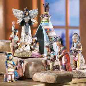 Southwestern Nativity scene, all characters are Native American