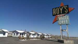 Roy's iconic sign over the decaying cabins