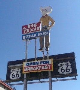 iconic Big Texan sign with neon cowboy
