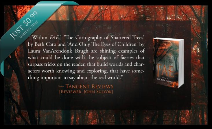 The Cartography of Shattered Trees by Beth Cato and And Only the Eyes of Children by Laura VanArendonk Baugh are shining examples of what could be done with the subject of faeries that surpass tricks on the reader, that build worlds and characters worth knowing, and exploring, that have something important to say about the real world. - Tangent Reviews, John Sulyok