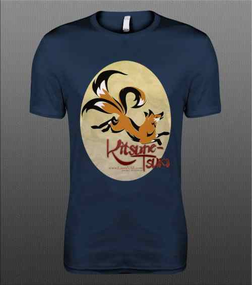 T-shirt with Kitsune-Tsuki logo of leaping 3 tailed fox