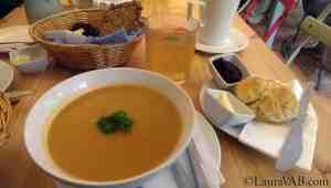 creamy vegetable soup, Irish bread, lemonade