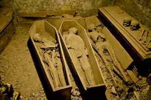 mummies in coffins at St Michan's church in Dublin