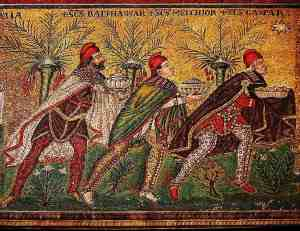 Roman mosaic in Ravenna, showing Magi in Parthian dress