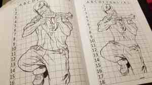 kneeling man with gun on left, with grid to copy image on right